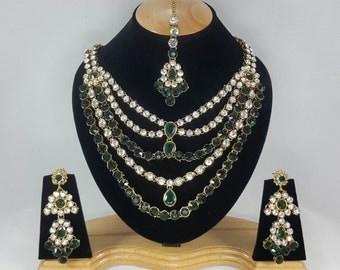 Indian Kundan Jewellery Set Handmade Gold Alloy and Rhinestones Green Clear Stones AQ/213