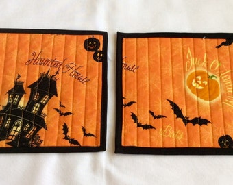 Halloween Mug Rugs, Haunted House Mug Rugs, Halloween Beverage Mats,  Halloween Novelty Coasters