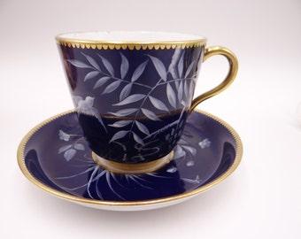 Vintage Hand Painted Cobalt Blue Teacup and Saucer Set - Stunning