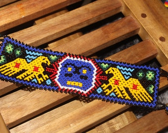 Huichol Sun Eagle Beaded Peyote Bracelet OO-2