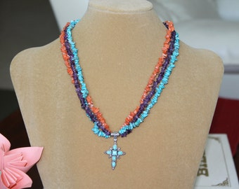 Triple Strand of Coral, Amethyst and Turquoise Chips with a Turquoise Cross, Sterling Silver, Necklace,Coral,Amethyst,Turquoise, Cross