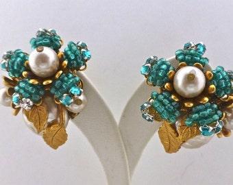 """Miriam Haskell Blue & 'Pearl"""" Earrings"""