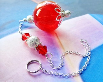 TRANQUIL HOME Witch Ball, Spirit Catcher, Rid Negative Entities, Sun Catcher, Red Ornament, Hand Blown Glass, Glass Ornament,Wiccan,Pagan