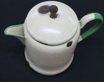 vintage farmhouse cream tan & green enamelware coffeepot