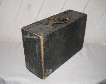 Antique train case, vintage black suitcase, small trunk, distressed, rustic, gift for him,  1335