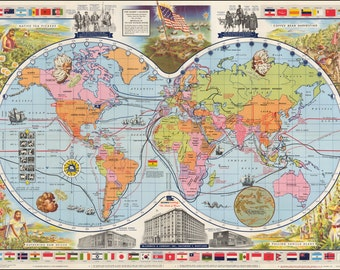 World maps, Ancient maps, Map of the world, Atlas, Prints, World map print, Old world maps, Ancient, Map poster, Wall world map, 278