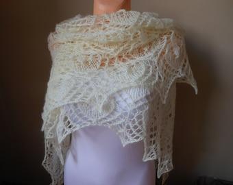 Lace shawl mohair yarn  cream, hand knitted, triangular shawl