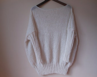 Oversized Plus Size Hand Knit Sweater Tunic Loose Knit Women's Sweater Ivory