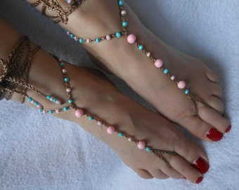 Crochet Barefoot Sandals Beach Wedding  Yoga Shoes Foot Jewelry Blue Turquoise Pink