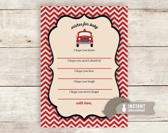 "Wishes for Baby: Vintage Inspired Fire Truck Baby Shower Design - Instant Download - 2 (5"" x 7"") Cards on an 8.5"" x 11"" Page - Digital File"