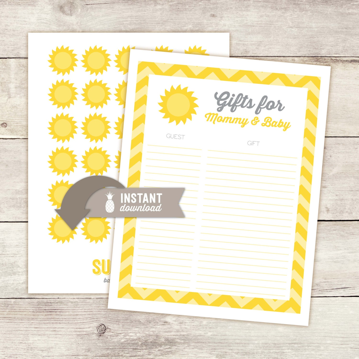 you are my sunshine baby shower guest gift list printables