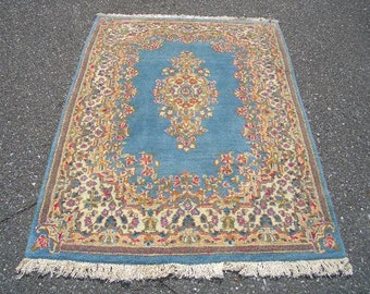 1970s Vintage, Hand-Knotted, Kerman Persian Rug (3009)