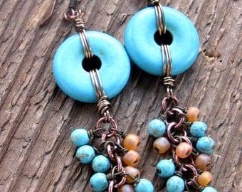 Santa Fe Earrings, Turquoise Earrings, Dangle Earrings, Southwest Earrings, Bohemian Jewelry
