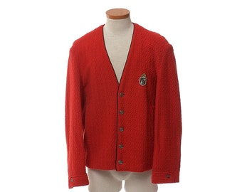 Vintage 60s Red Rockabilly Crest Jacket 1960s Brad Whitney Carmel Rat Pack Ricky Hipster Lined Wool Blend Boucle Cardigan / Mens M/L