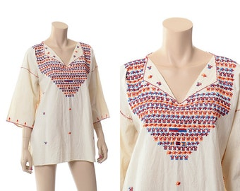 Vintage 60s 70s Embroidered Birds Mexican Tunic Top 1960s 1970s Hippie Festival Hand Embroidery Blouse Boho Gypsy Shirt