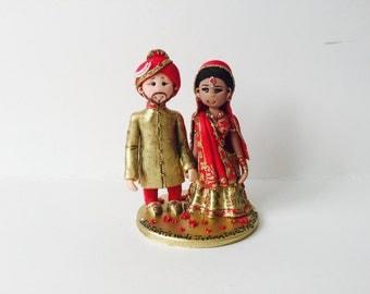 Personalised Asian Indian Sikh Hindu Pakistani Punjabi Bride &  Ethnic wedding cake topper