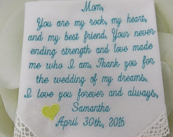 Embroidered Custom Wedding Handkerchief---You Are My Rock, My Heart, And My Best Friend. Your Never Ending Strength And Love Made Me Who I