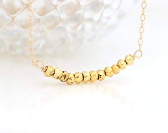 Pyrite Bar Necklace • Delicate gold necklace with gold pyrite gemstone bar