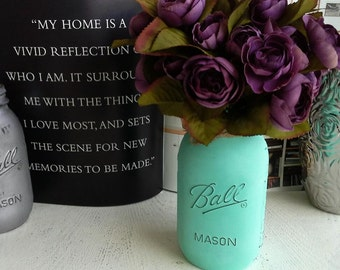 Beautiful Purple Flowers with Painted Mason Jar Vase, floral arrangement