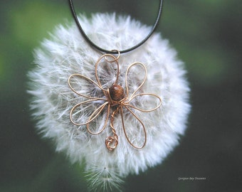 Flower pendant, goldstone bead and copper pendant, original handmade, wire wrapped pendant, copper wire, gift under 20