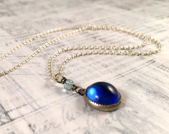Vintage Cufflink Necklace - Blue Glass Apatite Antique