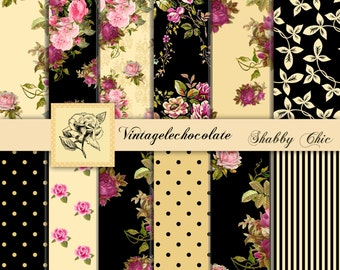 Yellow and Black Floral Paper, Digital Scrapbook Paper, Shabby Vintage Pink Roses and Black Digital Paper, Shabby Chic Roses. No. P91.VA