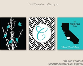 Personalized Family Tree Birds State Artwork Set of 3 Prints // Turquoise, Black // 5x7, 8x10, 11x14, 16x20 // Family Art Prints, Unframed