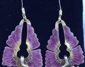 Vintage Early Laurel Burch 1970s Cloisonné Enamel Art Deco Bird Pierced Earrings Sterling Silver 24k Gold Wash