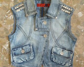 Vintage Custom Crop Denim Jacket Vest Hand-Studded Hand-Sewn Patch