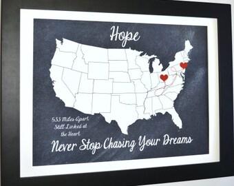 Map art, customized gift, girlfriend, boyfriend, long distance gift, us map, christmas, long distance relationship, husband, two locations
