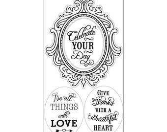 Sizzix - Interchangeable Clear Stamps - Fancy Frame with Phrases by Jen Long