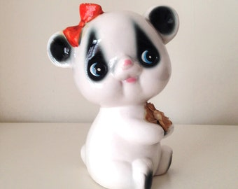 SALE- Vintage Ceramic Panda Girl  Figurine