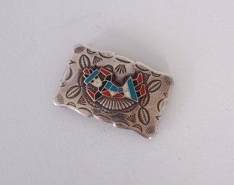 Vintage 60s STERLING BUCKLE / 1960s Engraved Signed Frontier Inlay Kachina Doll Belt Buckle