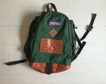 Vintage JANSPORT BACKPACK / Green Cordura Canvas & Leather Base Rucksack School Bag