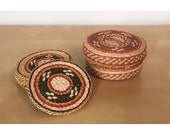 Woven Tribal Coasters with Basket