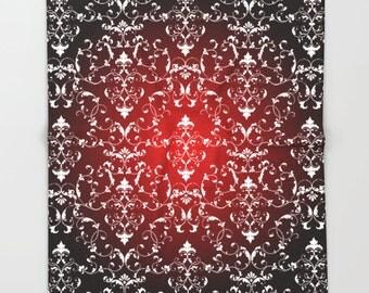 Fleece Blanket Damask Blanket Fleece Kids Blanket Warm Blanket Modern Blanket Pattern Blanket Cozy Red Blanket Throw Blanket Soft blanket