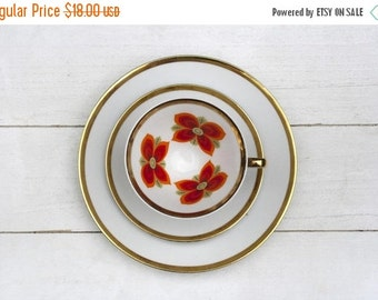 SALE Vintage German Tea Cup and Saucer Trio Set- Orange Flower Power on White with Gold Edge- Back to the 70s