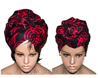 Extra long Red and Black  Head wraps/ African accessory fabric/ African Fabric/ African Head scarf/ HT111