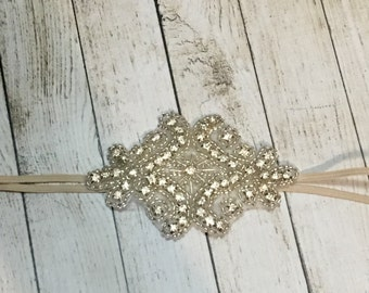 Vintage rhinestone beaded headband with skinny tan elastic