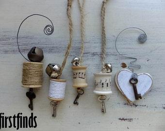 5 Christmas Tree Ornaments Handmade with Vintage and Reclaimed Items Skeleton Keys Jingle Bells Wood Spools Sheet Music Gifts DETAILS BELOW