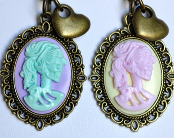 Pastelgoth Skeleton Lady (Cameo) with Heart - Polymer Clay Necklace - Pink/Yellow OR Mint/Purple