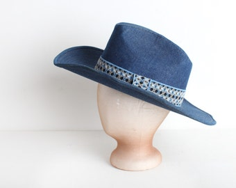 Vintage Blue Denim Cowboy Hat