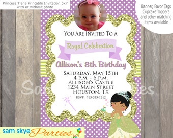 Princess Tiana Tea Party Invitation, Tea Parties,  Princess Birthday Parties Printable Invitation