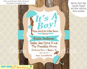 Blue and Brown Baby Shower Invitation, Boy Baby Shower Invitation, Printable Invitation