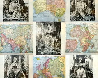 1910 Maps/Illustrations of the Continents
