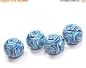 SALE 20% OFF Round beads in blue, polymer clay beads, unique marble pattern beads in blue, turquoise  and white, elegant beads, set of 4