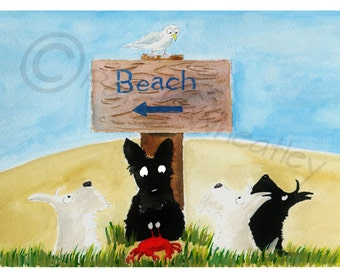 Scottish Terrier Dogs, 'Beach'  Art Print #116