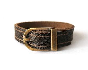 Marsabit - Dark Brown Leather Bracelet Cuff Wristband - with Antique Brass Buckle - Adjustable - 1 cm