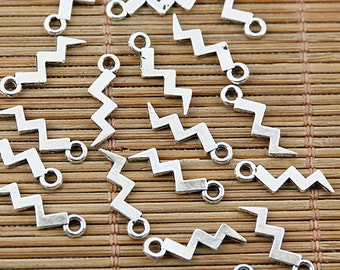 200pcs Tibetan silver lightning wave shape charms EF1681