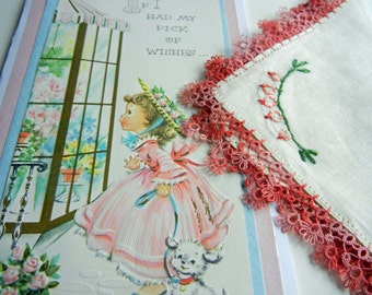"Birthday Card with Vintage Handkerchief, Handmade Card ""Pick of Wishes"" - Hanky Hankie with Bleeding Heart Embroidery and Tatted Edge"